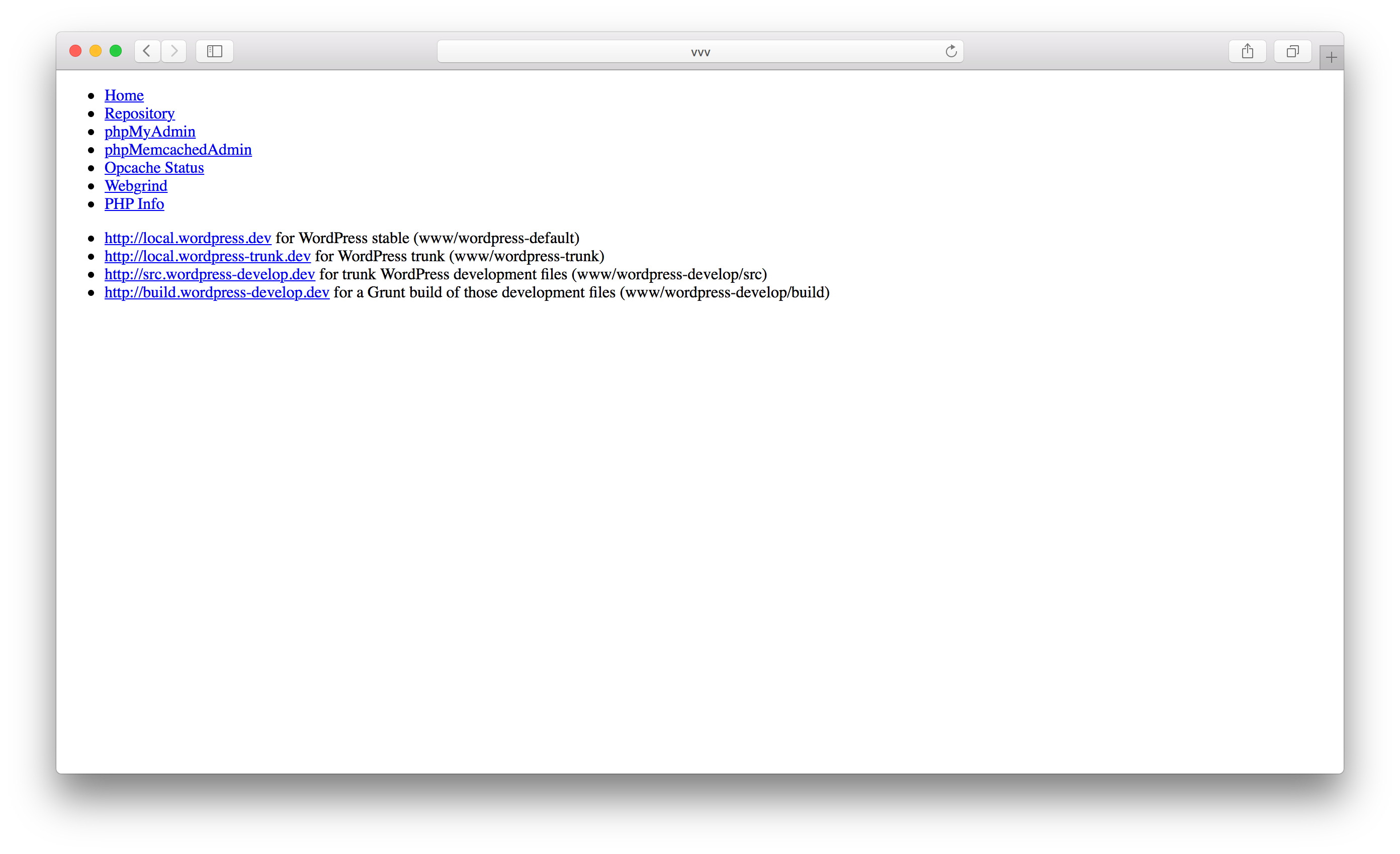 Главная страница VVV сервера и ссылки на доступные сайты и сервисы.